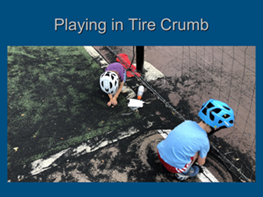 Children playing in tire crumb infill from field
